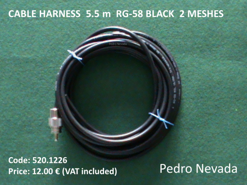 CABLE HARNESS  5.5 m  RG-58 BLACK  2 MESHES - Pedro Nevada